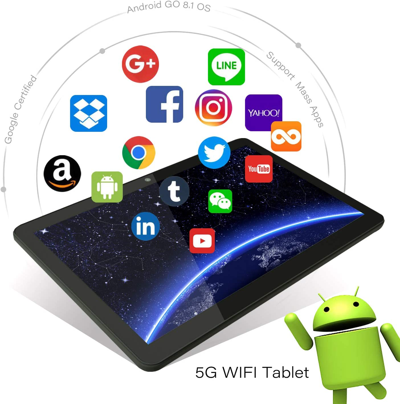Android Tablet 10 Inch, 5G WiFi Tablet with Dual Camera, 16GB Storage, Android 8.1 Tablets PC, Quad-Core Processor, Google Certified, 1280×800 IPS HD Display, Bluetooth, GPS, FM – Black 71R4JDq0IhL