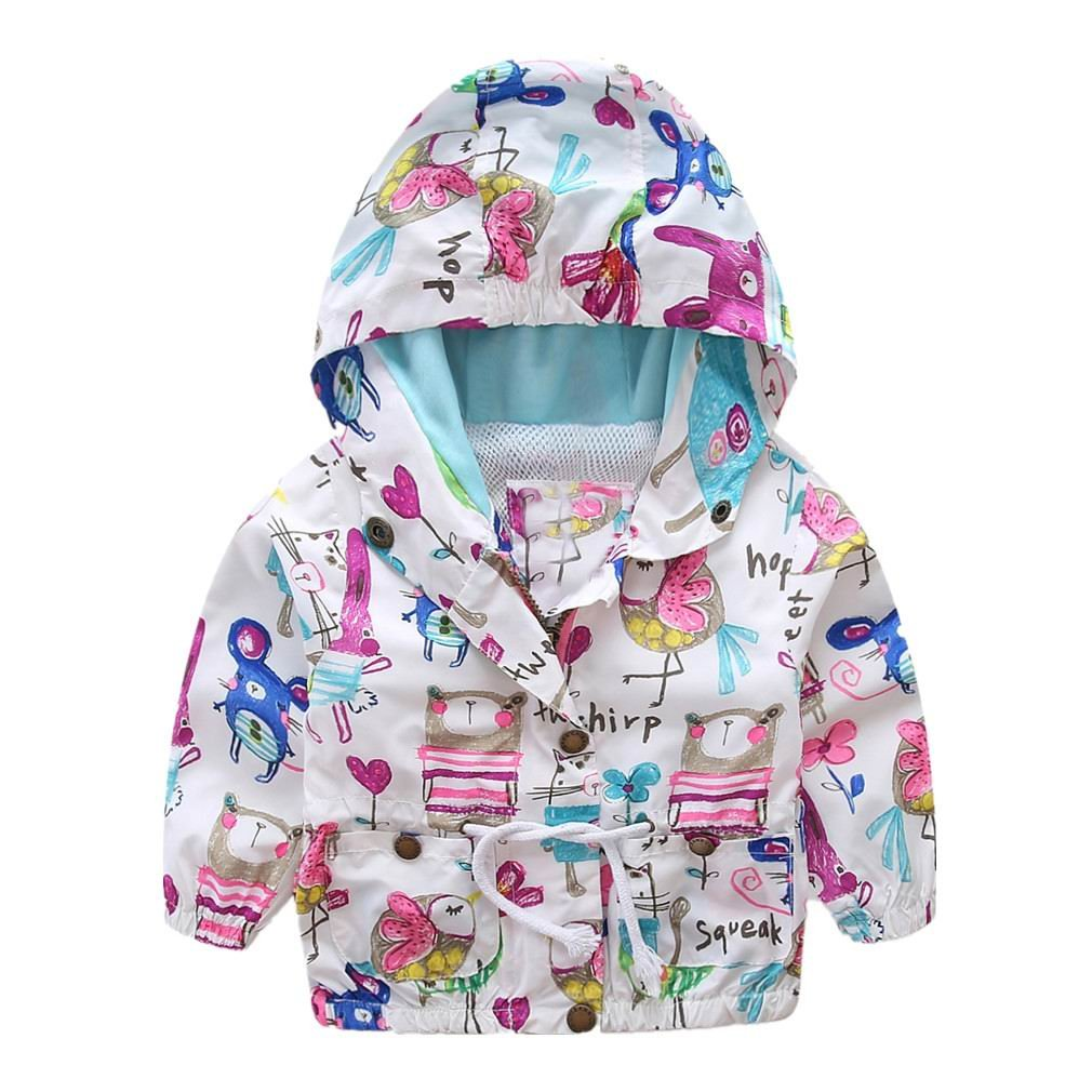 Motteecity Little Girls Bird Printing Hooded Jacket