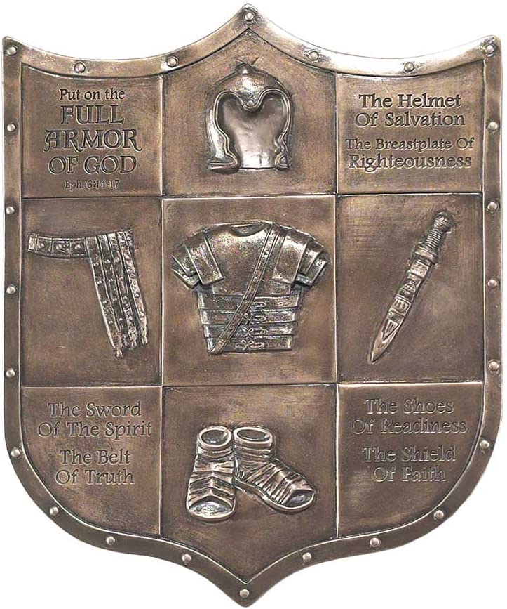 Dicksons Full Armor of God Shield 12 inch Bronze Color Resin Stone Wall Plaque