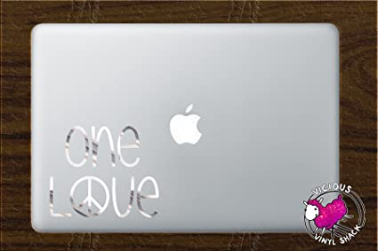 One Love Peace Sign Quote (CHROME MIRROR LIKE) Vinyl Decal Stickers For  MacBook Laptop