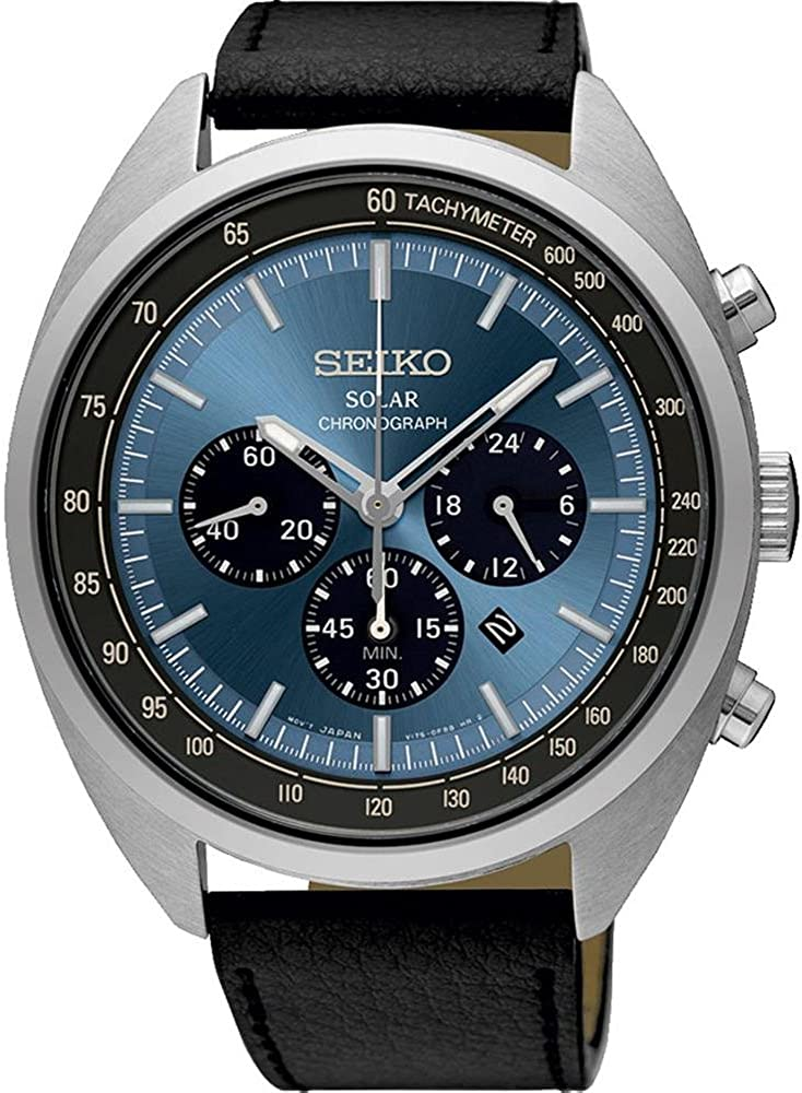Seiko Men s 45mm Black Leather Band Steel Case Hardlex Crystal Solar Blue Dial Analog Watch SSC625P1