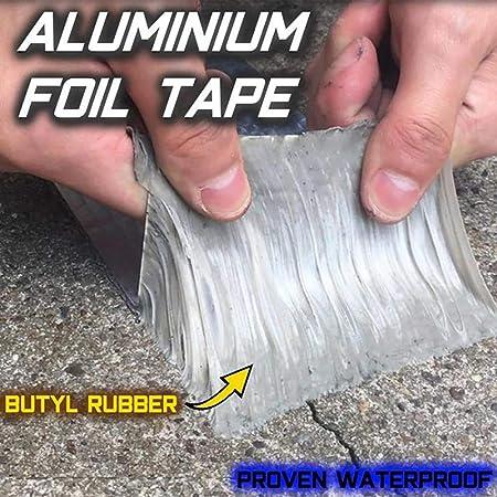 Imagen de1 rollo/2 rollos de cinta de caucho butílico impermeable. Cinta reparadora sellante autoadhesiva de lámina de aluminio para reparación de grietas en superficies de construcción, techos, tuberías y barcas