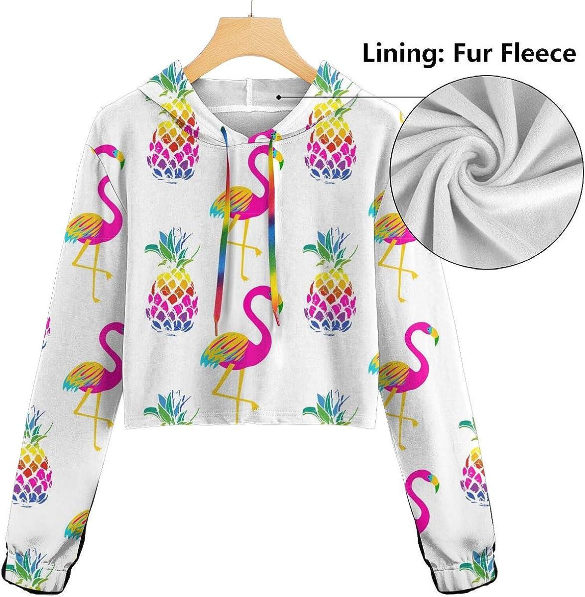 SITU Womens Hoodie Crop Top Long Sleeve Print,Bright Flamingo Birds and Pineapples