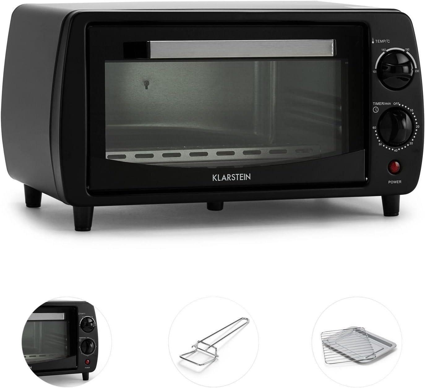 Mini Four Ultra Compact 11L avec minuterie et temp/érature jusqu/à 250/°C 800W, Plaque et Grill, 2 /él/éments de Chauffe KLARSTEIN Minibreak