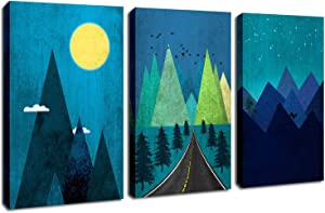 """Blue Canvas Wall Art Starry Night Sky Moon Prints Artwork Abstract Mountain Landscape Painting Stretched and Framed on Canvas for Bedroom Living Room Bathroom Nursery Decor 12""""x 16""""x 3 Panel"""