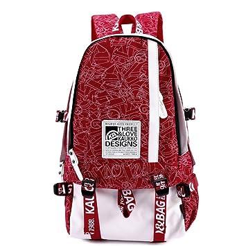 coreano estilo preppy - Mochilas para el colegio Lona Mochila Bolso De Escuela Bolsa de viaje (Rojo): Amazon.es: Equipaje