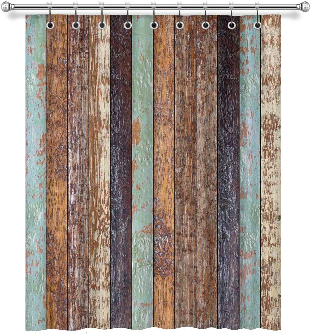 InterestPrint Vintage Rustic Colored Barn Wood Blackout Room Darkening Curtains Window Panel Drapes with Hooks – 1 Panels – 52 inch Wide by 63 inch Length