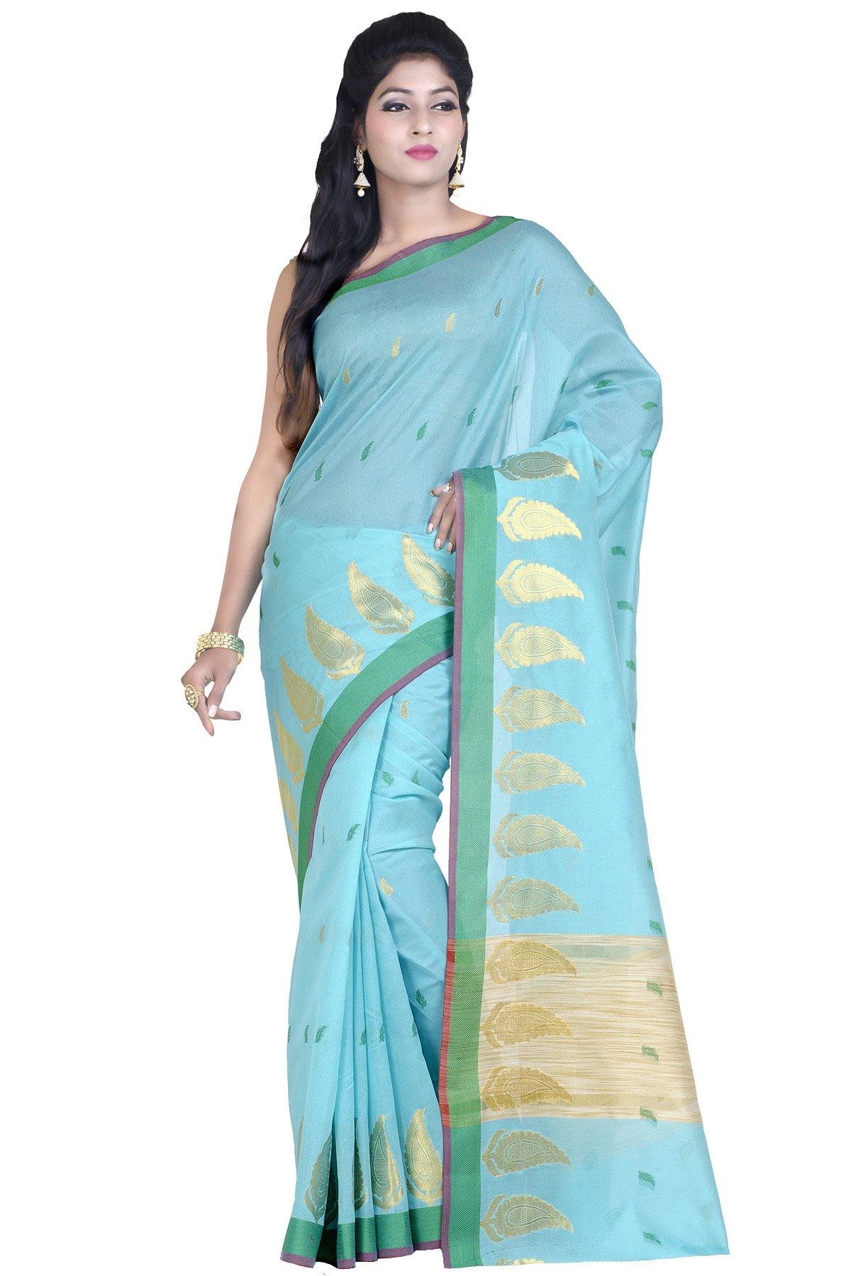 Chandrakala Women's Blue Art Silk Banarasi Saree with unstitched Blousepiece.