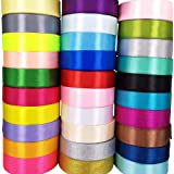 "Chenkou Craft 40 Yards Single Side 2""(50mm) Solid Satin Ribbon Ribbons Assorted Craft Bow Party Decoration Packing Ribbons (2""(50mm))"