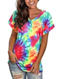 GOOTUCH Women's Tie Dye V-Neck T Shirts Short Sleeve Casual Floral Tee Tops