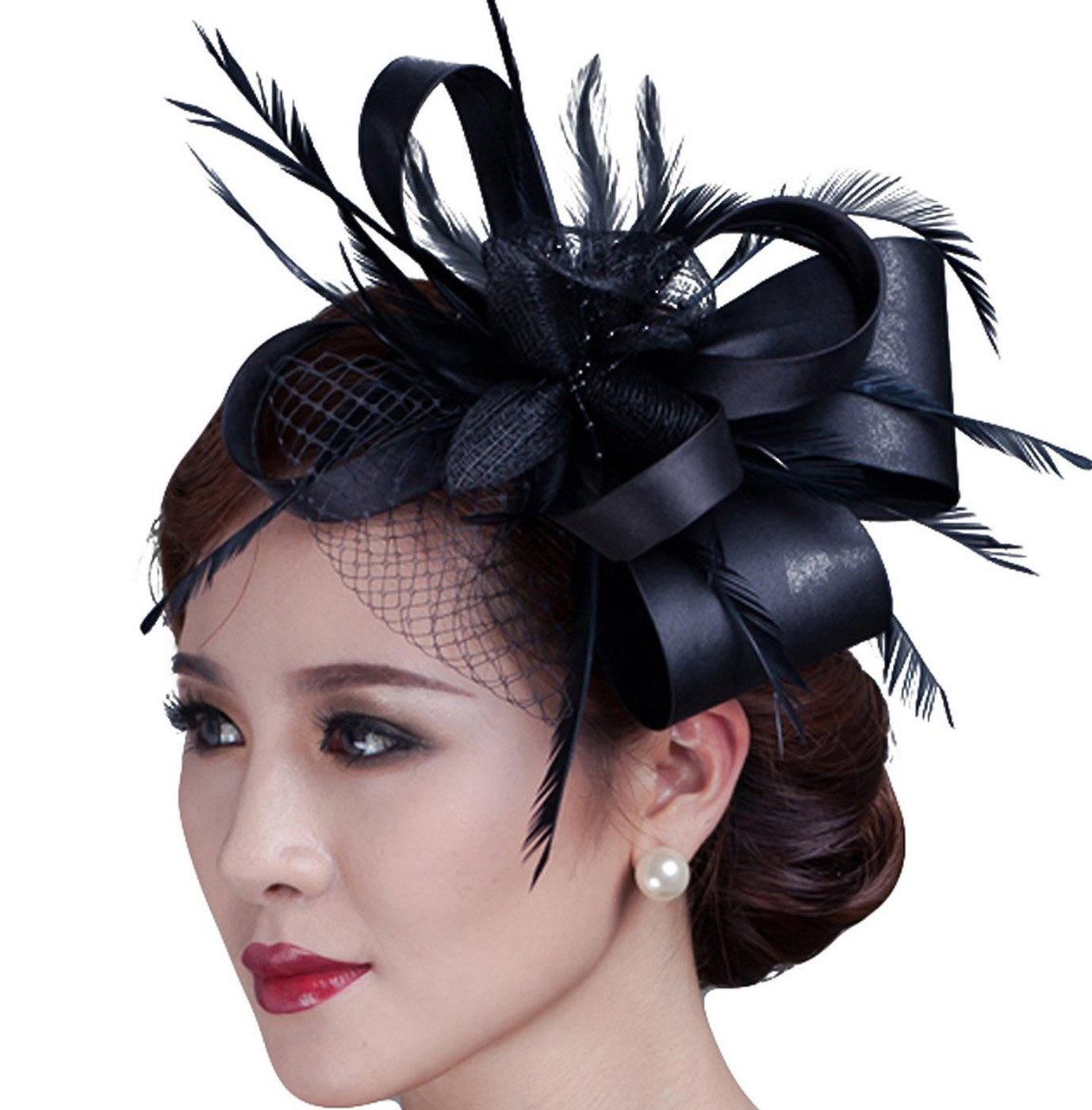 Fascinator Flower Cocktail Party Headdress Wedding Bridal Headpiece for Women (Black)