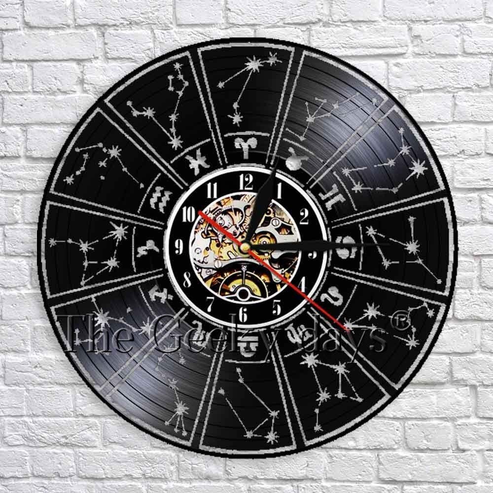 wtnhz LED-12 símbolos Reloj de Pared Decorativo Signo del Zodiaco Reloj de Pared con Registro de Vinilo Estrellas de astrología Reloj de Pared 3D Decoración Regalo Hecho a Mano