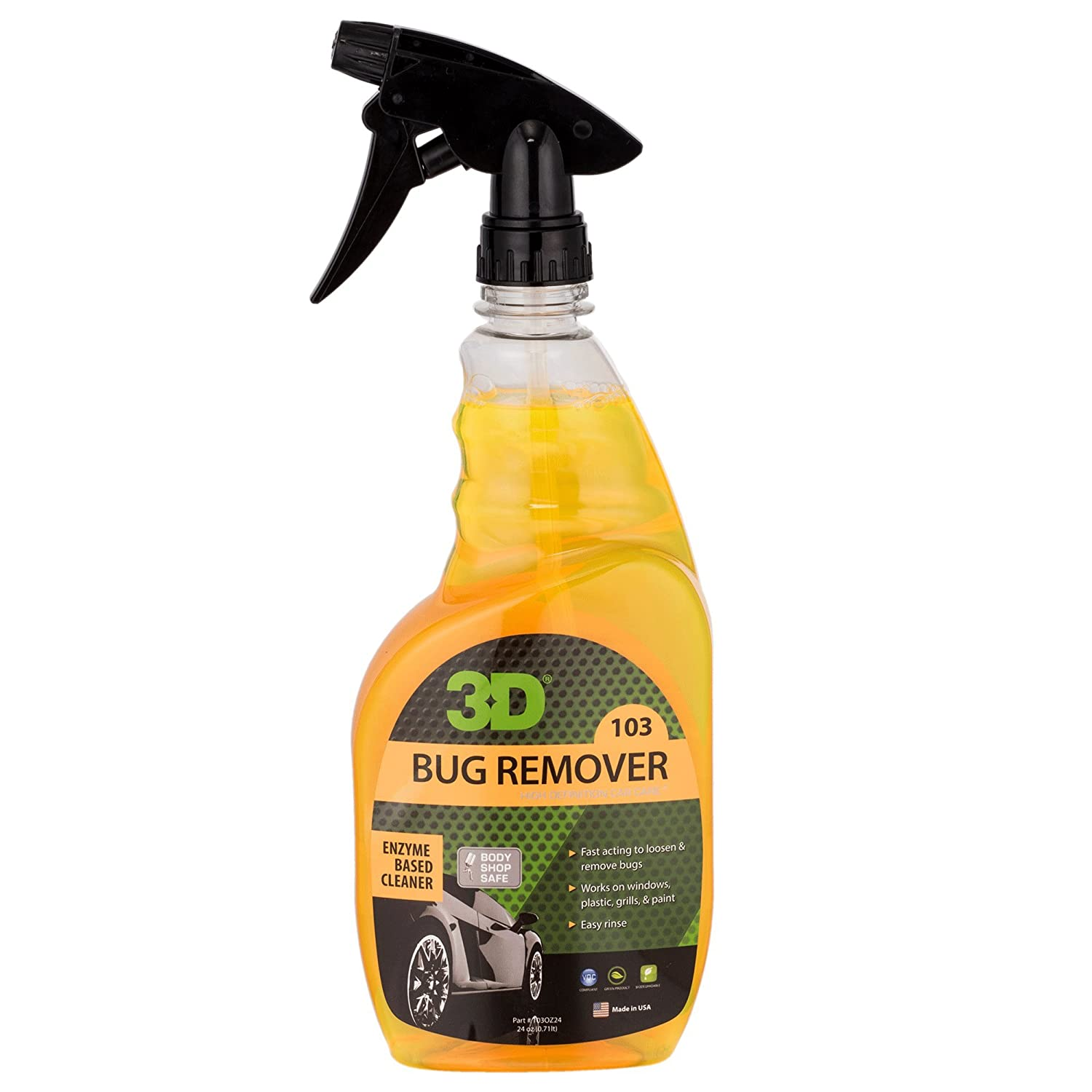 3D Bug Remover - 24 oz. | Enzyme Based Cleaner | Concentrated Degreaser | Removes Insects & Bugs | Made in USA | All Natural | No Harmful Chemicals 3D Car Care Products 4332943997
