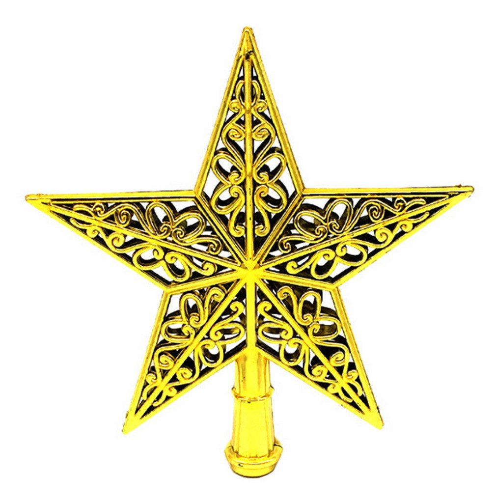 Christmas Tree Topper 7.8 Inch Hollow Pentagram Star Treetop Decoration (Gold, 1pcs) Brcus