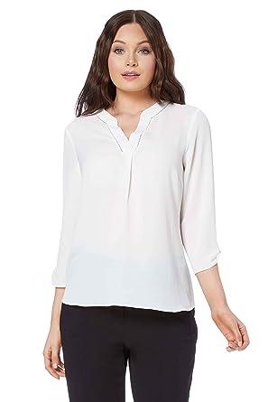 hot sale online 20570 e56e3 Roman Originals Damen Bluse mit V-Ausschnitt und Lochmuster ...