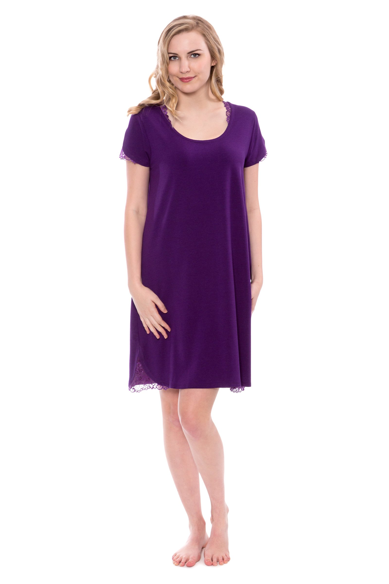 Women's Jersey Nightgown With Lace - Delicate Night Dress by Texere (Sonarina, Acai, Large) Unique Sleepwear Any Occasion Gifts For Every Woman TX-WB040-002-ACAI-R-L