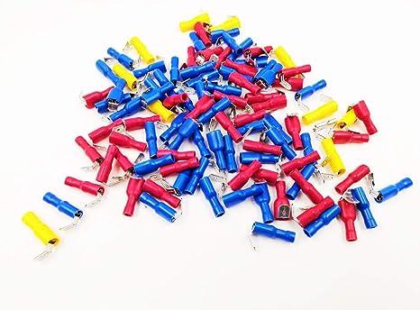 100pcs Piggy Back Spade Crimp Connectors Terminal 3 Colors 10-22AWG 6.3mm