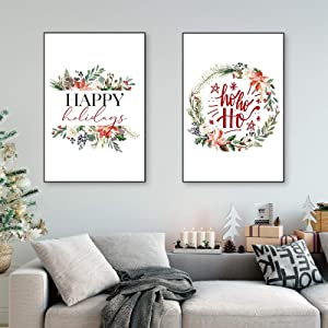 """KELEQI Happy Holidays Canvas Posters Picture Merry Christmas Party Decoration Nordic Wall Decor Art Painting Prints 11.8""""x19.6""""(30x50cm) X2 Frameless"""