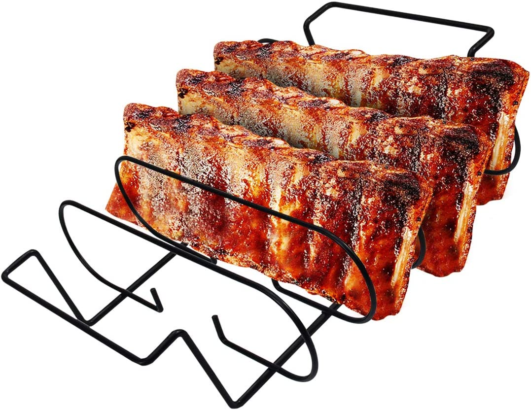 Leadrise BBQ Rib Rack for Grilling Barbecuing & Smoking in Stainless Steel, Non Stick Standing Rib Rack Holds 5 Rib Racks for Grilling & Barbecuing (10-inch Width)