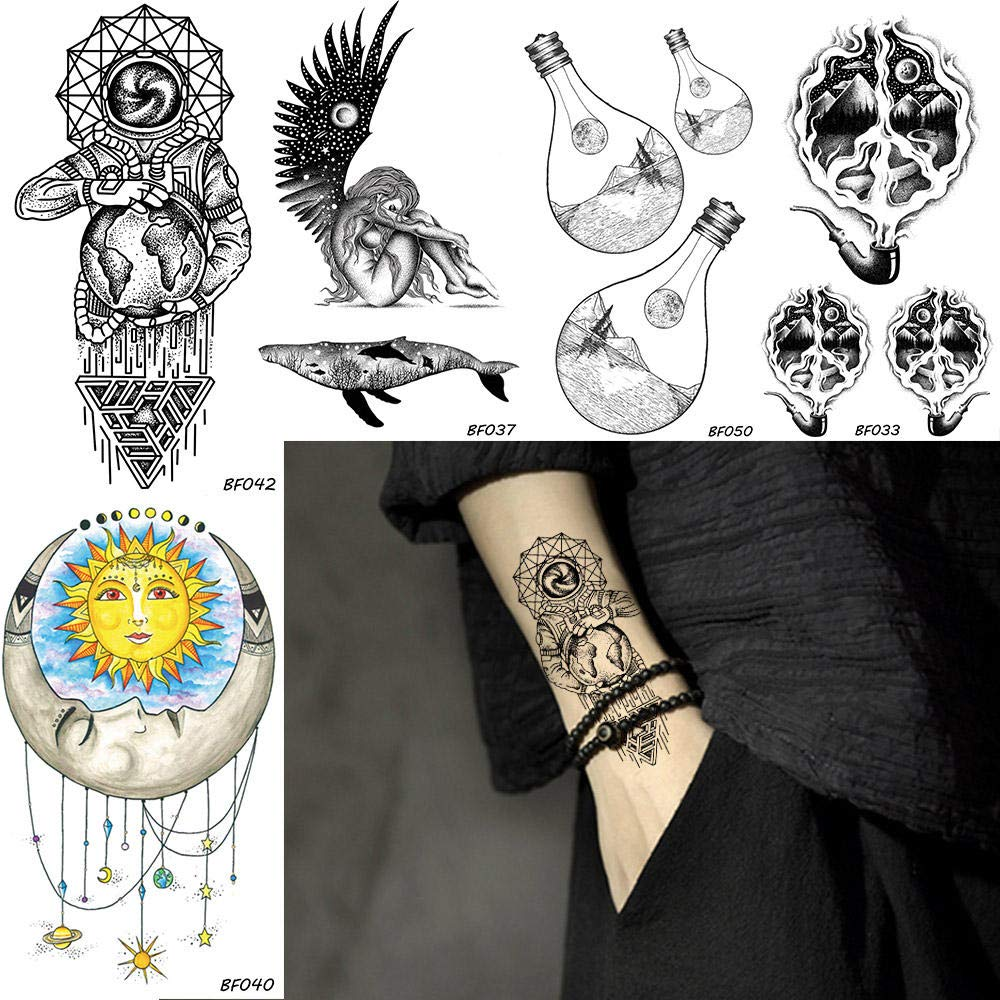 Tatuajes Temporales Hombre Hombres Galaxy Stars Astronauta Tatuaje ...
