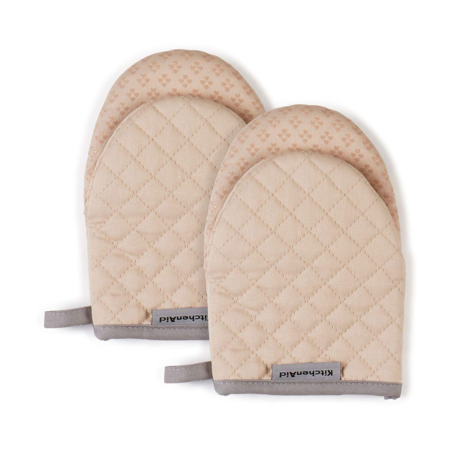 KitchenAid Asteroid Mini Cotton Oven Mitts with Silicone Grip, Set of 2, Beige