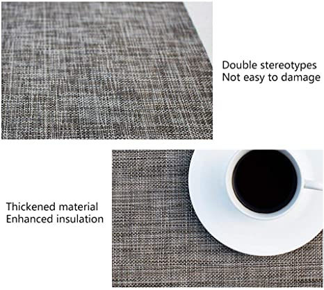 Firelong Oval Table Placemats Non-slip Insulation Woven Vinyl Washable Table Mats,Pecfect for Round Tables Green Set of 6
