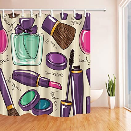 NYMB Makeup Decor Lipstick And Perfume Shower Curtains Polyester Fabric Waterproof Bath Curtain