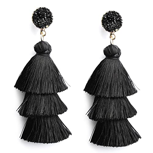 Black Layer Tassel Earrings Tiered Thread Tassel Dangle Earrings Bohemian Statement Tassel Earrings