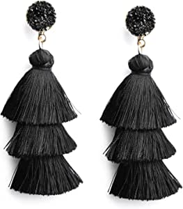 Me&Hz Colorful Layered Fashion Tassel Earrings Bohemian 3 Tier Fringe Statement Big Dangle Drop Earrings for Women Teen Girls Party Vacation Birthday Everyday Jewelry Gift Druzy Stud Post