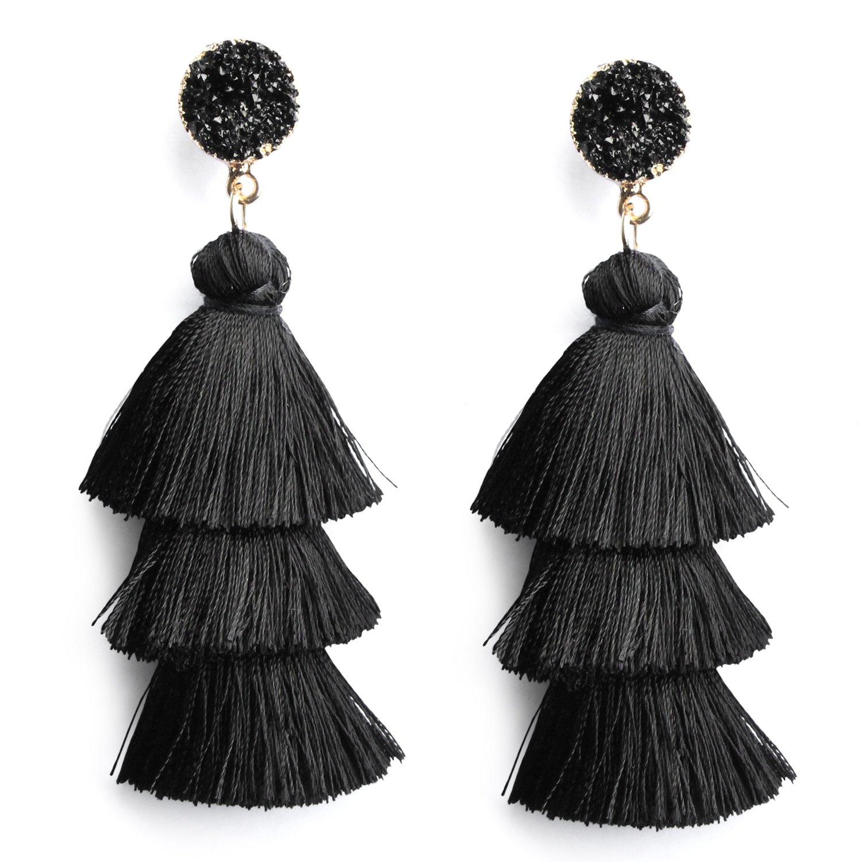 Me&Hz Black Layer Tassel Earrings Tiered Thread Tassel Dangle Earrings Bohemian Statement Tassel Earrings