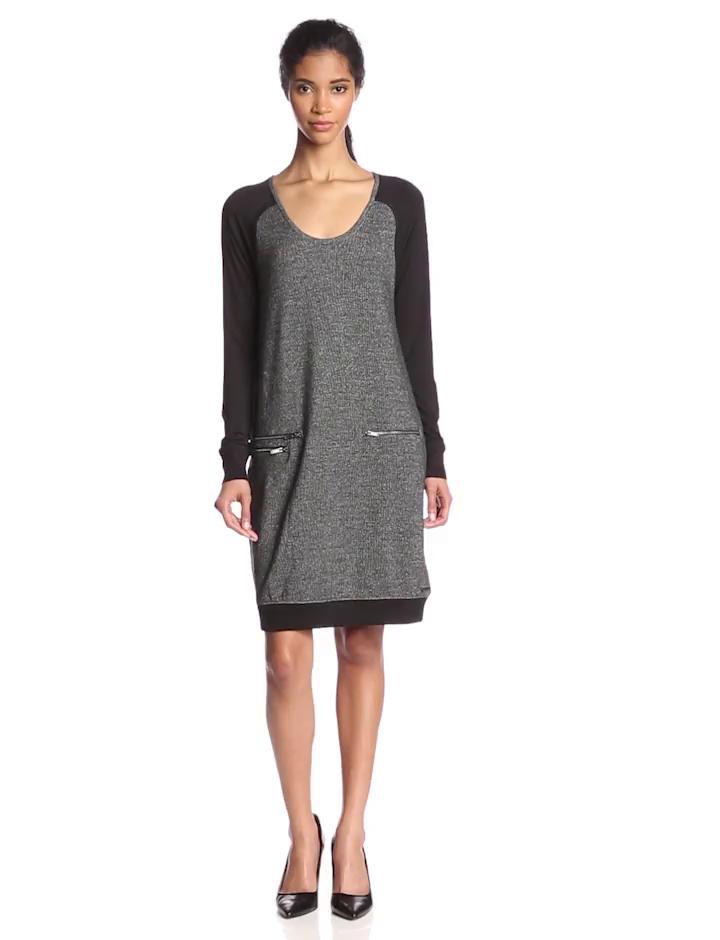 Calvin Klein Jeans Women's Sparkle Zip Dress, Asphalt, Medium