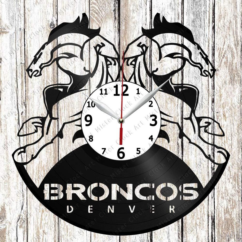 Vinyl Record Wall Clock Denver Broncos Home Art Decor Unique Design Handmade Original Gift Vinyl Clock Black Exclusive Clock Fan Art