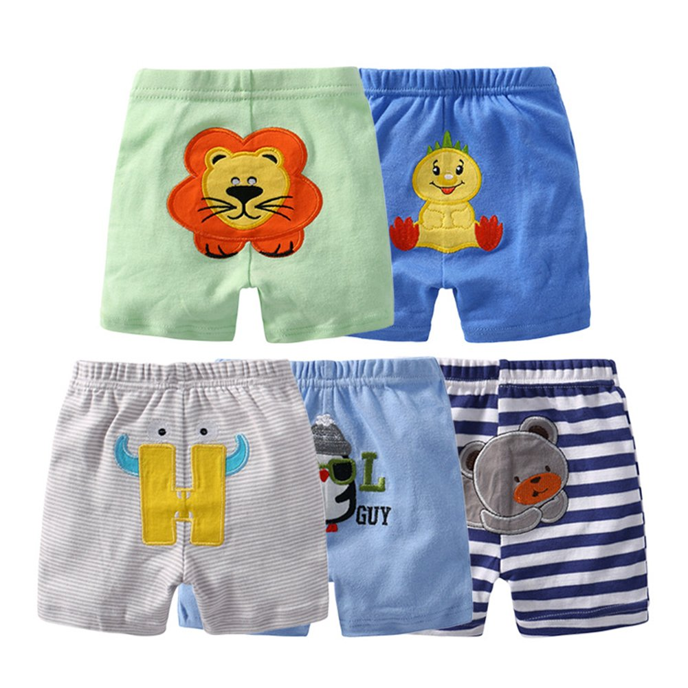 Zantec 5 Pack Baby Summer Cotton Cartoon Shorts Harem Pants