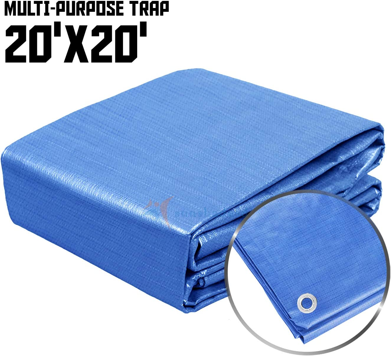 Sunshades Depot 20x20 Feet General Multi-Purpose 5 Mil Waterproof Blue Multi Purpose Waterproof Poly Tarp Cover 5 Mil Thick 8x8 Weave