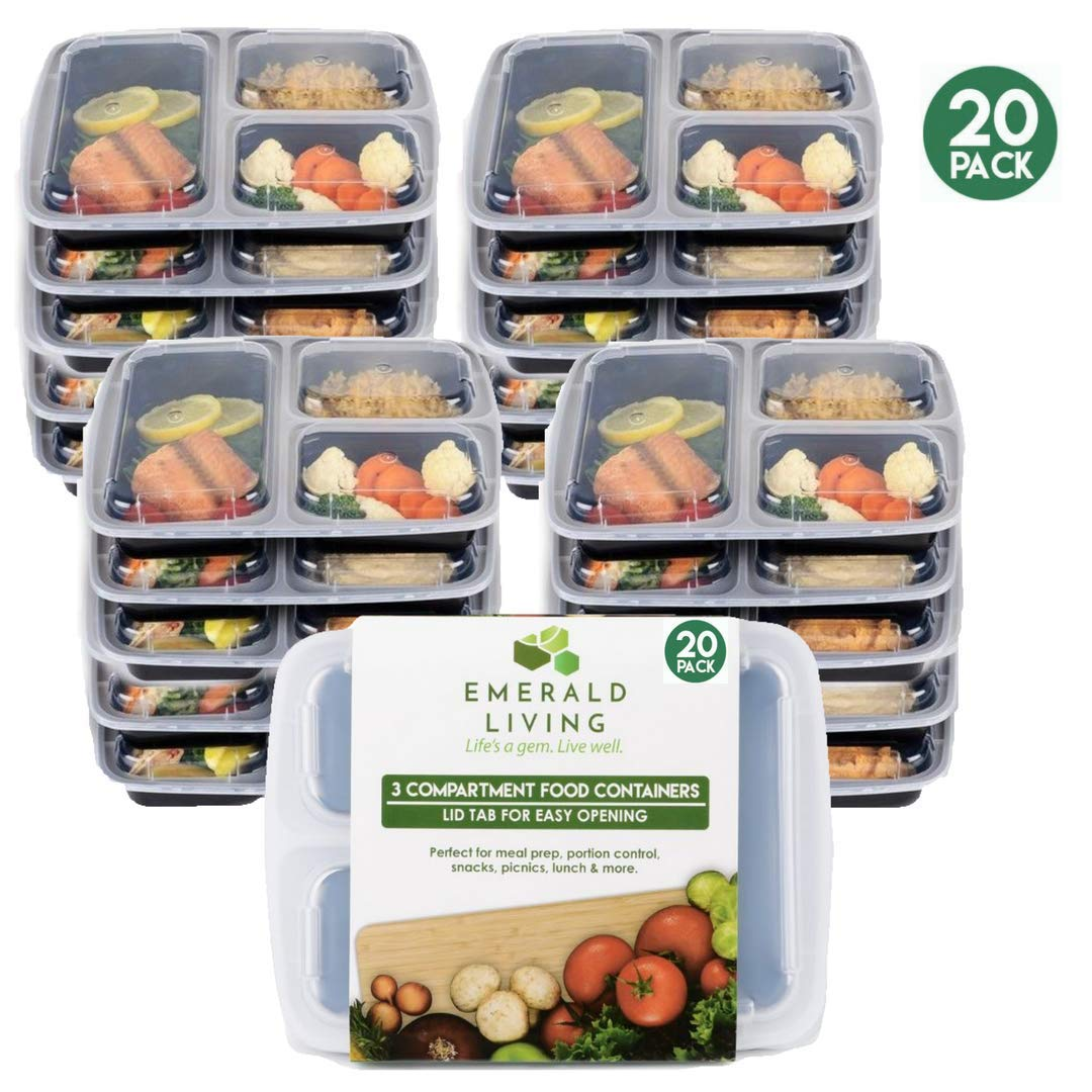 |20 pack| Meal prep food containers. Bento box set with lids. Stackable, reusable & BPA free plastic food/lunch box containers with dividers + EBook (20, 3 Comp)