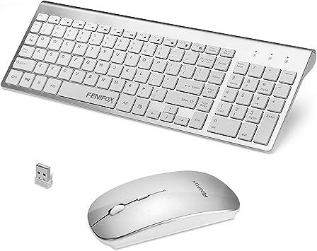 JmeGe Teclado inal/ámbrico y Mouse Combos ergon/ómico Ultra Slim Set para iOS Android Windows computadora PC Wireless Keyboard Mouse