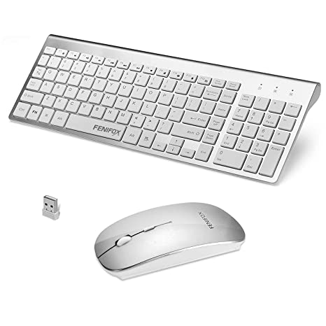 FENIFOX Wireless Keyboard and Mouse Combo, Full-Size Whisper-Quiet Compact  Wireless Keyboard Mouse for Laptop PC Computer Windows Android - Silver