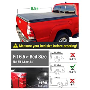 Premium Alloy Hard Top Tri-Fold Truck Bed Tonneau Cover 2002-2018 Dodge Ram 1500; 2003-2018 Dodge Ram 2500 3500 | Fleetside 6.5' Bed | For models without Ram Box