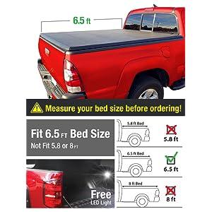 Premium Alloy Hard Top Tri-Fold Truck Bed Tonneau Cover 2002-2018 Dodge Ram 1500; 2003-2018 Dodge Ram 2500 3500 | Fleetside 6.5' Bed | For models without Ram Box