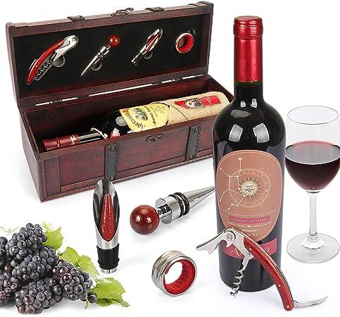 Compra YOBANSA Caja de almacenamiento de madera envejecida con asa, caja de botella de vino con juego de accesorios de vino, caja de regalo de vino de madera, tapón de vino vertedor
