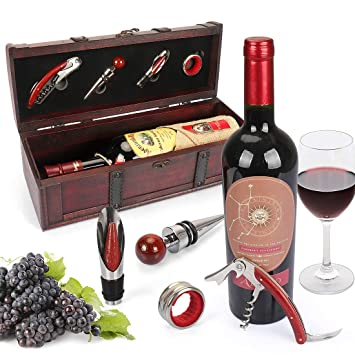 Yobansa Antique Wooden Chest Storage Box With Handle Wine Bottle Box With Wine Accessory Set Wooden Wine Gift Box Wine Stopper Wine Pourer Wine Opener