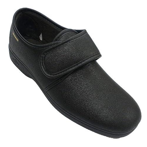 Zapatillas Velcro Hombre simulando Zapato Alberola en Negro T0107: Amazon.es: Zapatos y complementos