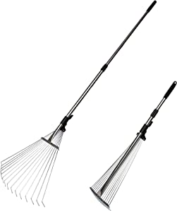 "Vilobos Garden Leaf Rake Adjustable Lightweight Telescopic Metal Rake with Expandable 7.5""-20"" Width Folding Head,32-62.6 Inches,Stainless Steel"