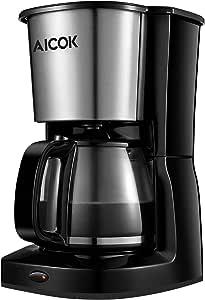 Cafetera de goteo marcador aicok 1,25 L/10 taza cafetera de filtro – negro: Amazon.es: Hogar