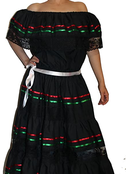 Oro Import Womens Tricolor Gypsy Lace Peasant Mexican Dress One Size