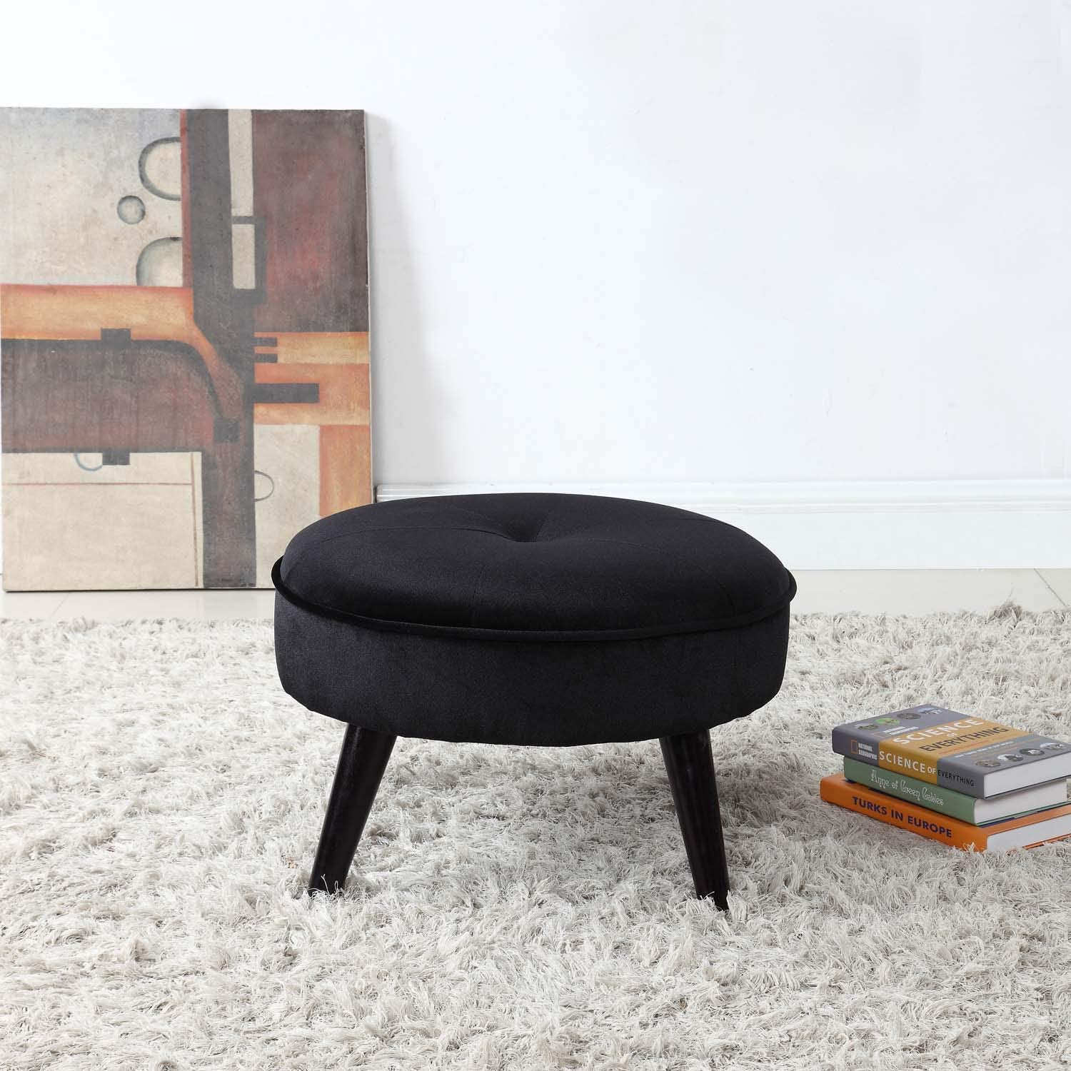 Divano Roma Furniture Classic Tufted Large Velvet Round Footrest/Footstool/Ottoman (Black)