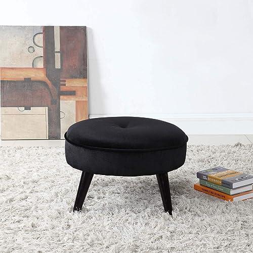 Divano Roma Furniture Round Tufted Velvet Footrest