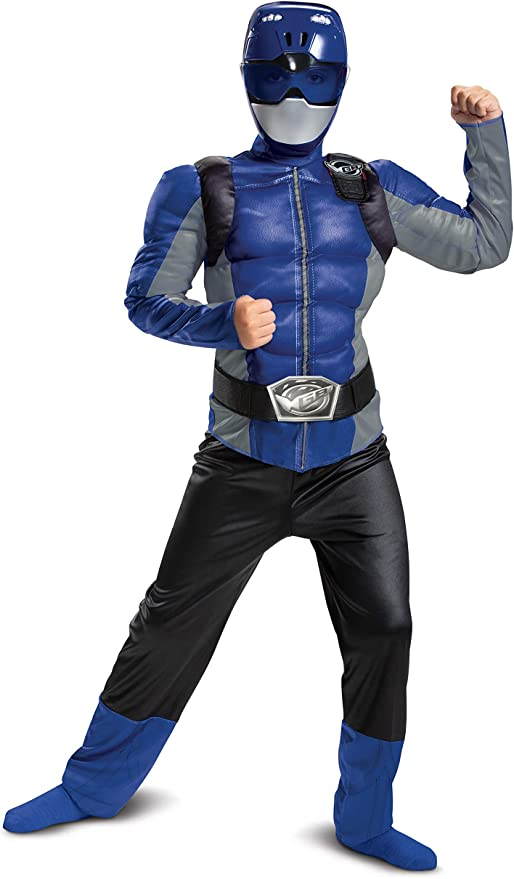 Classic Adult Blue Ranger Muscle Costume Power Rangers