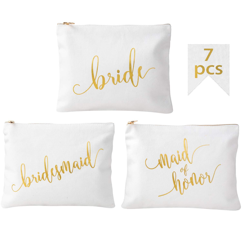 Crisky Canvas Bridesmaid Makeup Bags for Bridal Shower, Bachelorette, Wedding Shower Cosmetic Bags for Bridesmaid Gift Makeup Pouch, Set of 7 (1 Bride & 1 MOH & 5 Bridesmaid), 8 x 10 Inch, Canvas