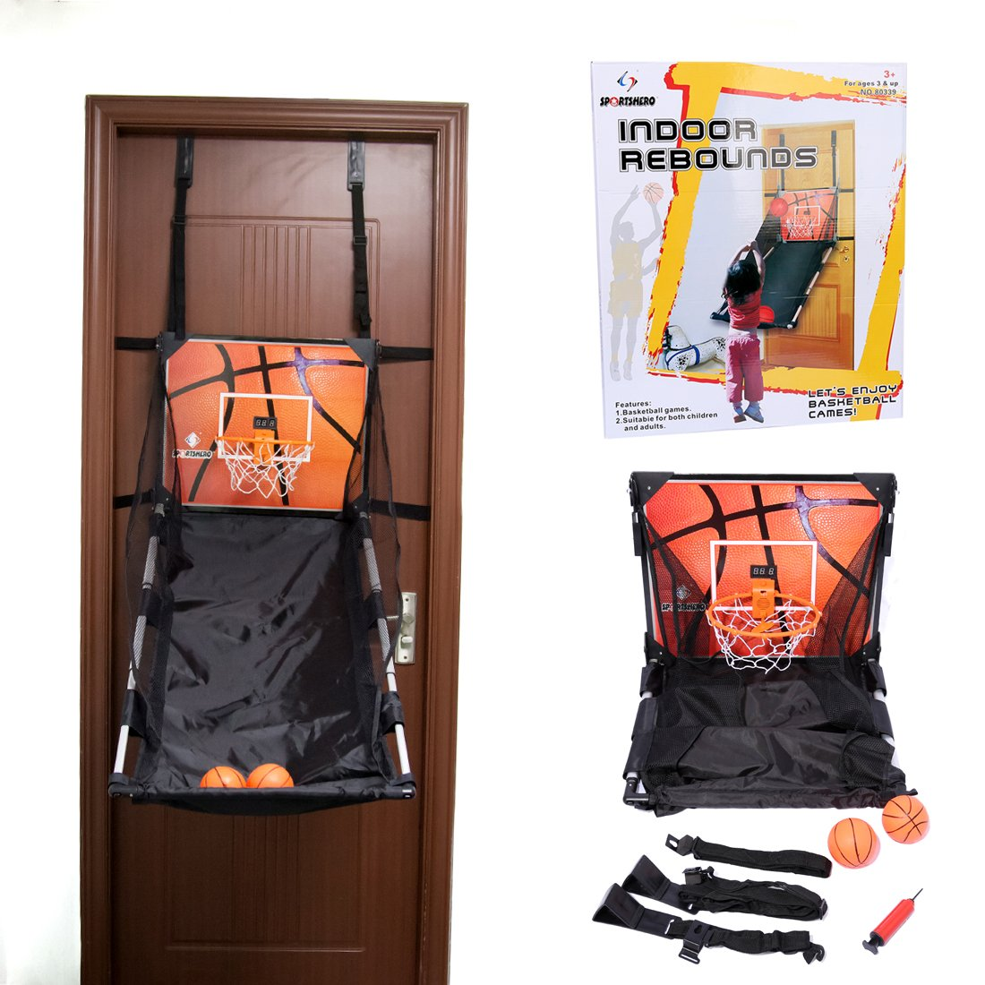 Basketball Shooting Machine PINCHUANGHUI Door Hanging Automatic Scoring Basketball Shooting Machine Foldable Shooting Hoop - Main Black by PINCHUANGHUI (Image #1)